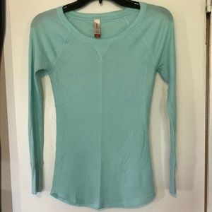 Turquoise waffle knit top